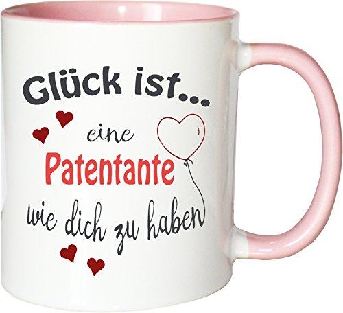 WarmherzIch Becher Tasse Glück ist… Patentante Kaffee Kaffeetasse liebevoll Bedruckt BFF Beste Freundin Schwester Weiß-Rosa