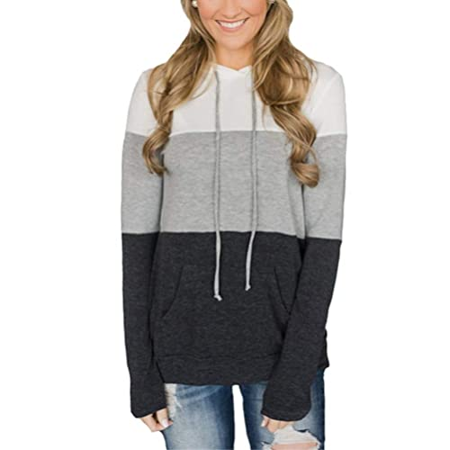 Popshion Women s Casual Hoodies Triple Colorblock Tunic Hooded Sweatshirts  Jumpers Pullover with Kangaroo Pockets bfda4f379