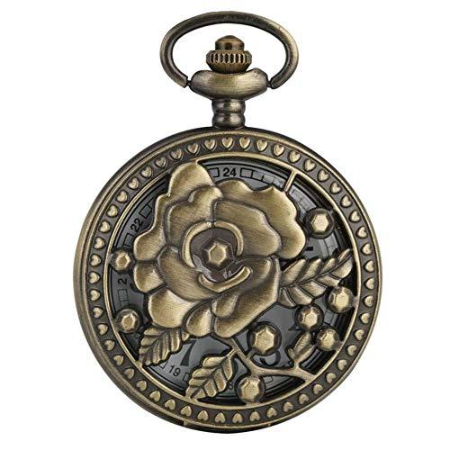 J-Love Reloj Bolsillo Cuarzo con diseño Flores Rosas Huecas con Encanto Vintage, Reloj con Collar Bronce para Mujer, Reloj Colgante Antiguo