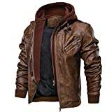 FEDTOSING Men's Bombe Leather Jackets Stand Collar Vintage Motorcycle Biker Jackets with Removable Hood (Brown-7 L)