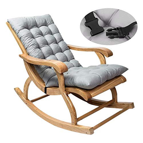 Non-Slip Rocking Chair Cushion, Sun Lounger Cushion High-Backed Cushion, Thick Extra Large Relaxer Thick Seat Cushion, Deck Chair Cushion Rocking Chair Seat Cushion, Garden Cushion with Ties (Grey)