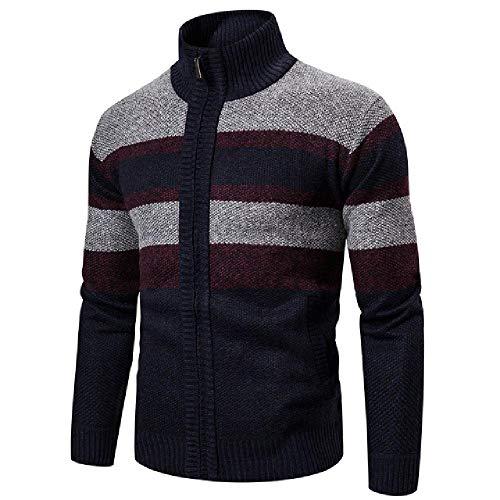 Chaqueta de manga larga de los hombres a rayas cuello alto cálido Cardigan suéter