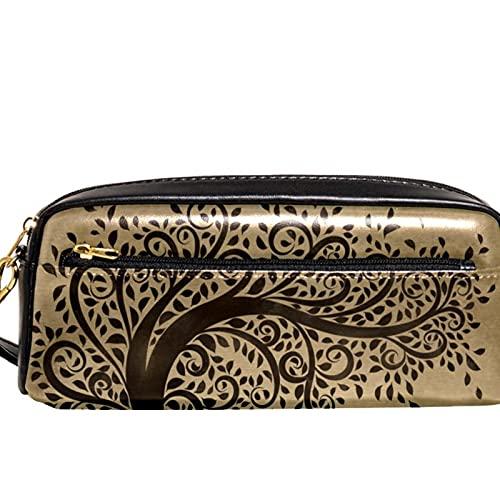 Estuche para lápices Marcador Bolígrafo Bolsa Organizador de escritorio Arte árbol soplando hojas Bolsa de almacenamiento