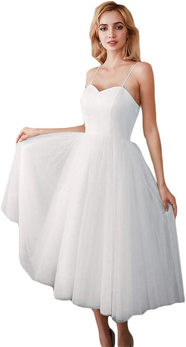 BestopBridal Spaghetti Straps Tulle Tea Length Wedding Dress for Bride