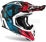 MOTOTOPGUN Airoh AVAK18 Casco de moto Cross azul y rojo brillante Aviator Ace Kybon, talla M