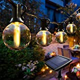 Guirnalda Luces Exterior Solares, Cadena de Luces 25 LED bombillas guirnalda luminosas impermeable IP44,utilizada para jardín terraza árbol patio decoración de fiestas en el hogar-7.6M
