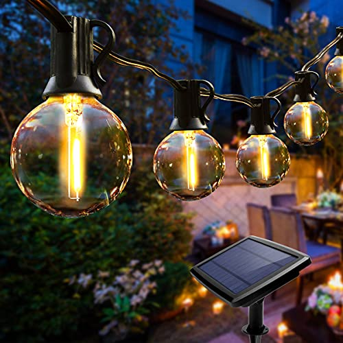 Guirnalda Luces Exterior Solares, NKW Cadena de Luces 25 LED bombillas guirnalda luminosas impermeable IP44,utilizada para jardín terraza árbol patio decoración de fiestas en el hogar-7.6M