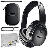 Bose QuietComfort 35 Series II Wireless Noise-Canceling Headphones (Black) Basic Bundle with Microfiber Cleaning Cloth