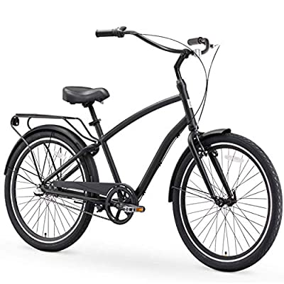 "sixthreezero EVRYjourney Steel Men's 3-Speed Sport Hybrid Cruiser Bike, 26"" Bicycle, Matte Black with Black Seat and Black Grips"