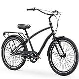 sixthreezero EVRYjourney Steel Men's 3-Speed Sport Hybrid Cruiser Bike, 26' Bicycle, Matte Black with Black Seat and Black Grips