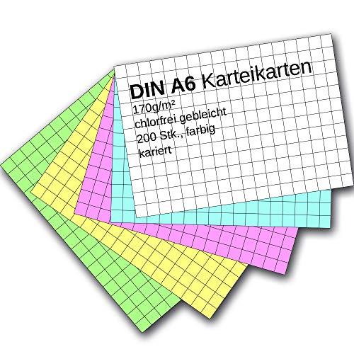 Karteikarten 200 Stück A6 farbig kariert
