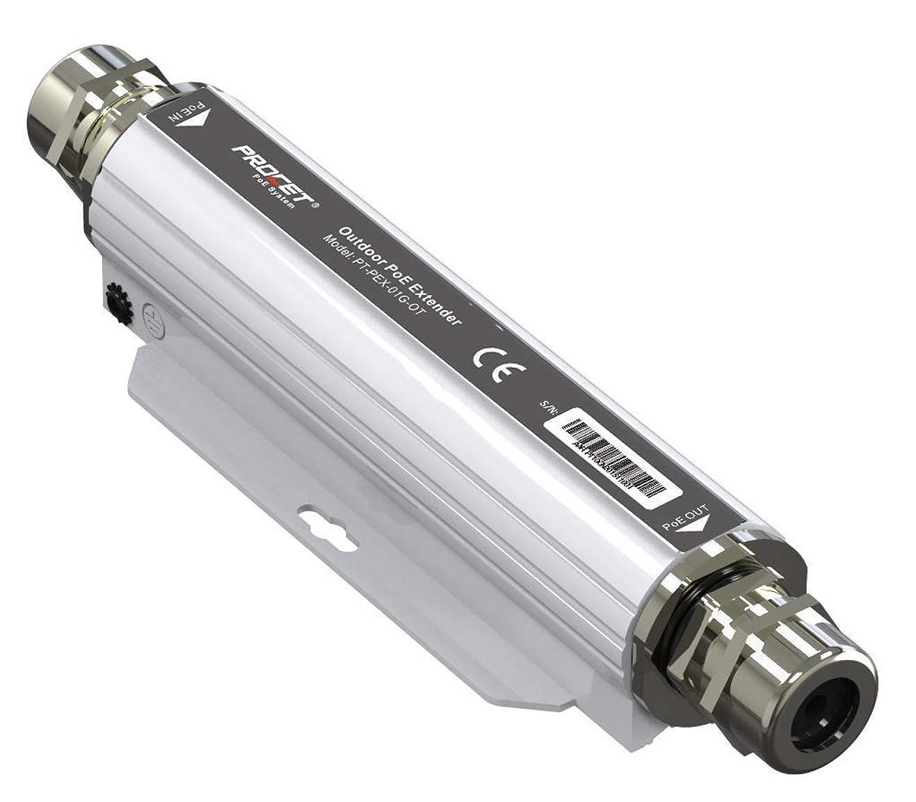 ジェム重さちょっと待ってProcet PT-PEX-01G-OT 1ポートPoEエクステンダ,IEEE802.3af / at PoE ++準拠,60W電力供給,10/100 / 1000Mbpsのデータ速度,防水、防塵のアルミ合金製シェルを備えた