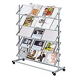 Pureday Soporte del folleto Christina II - Soporte del folleto en Rollos - Metal - Ancho Aprox. 100 cm - Colores Plateados
