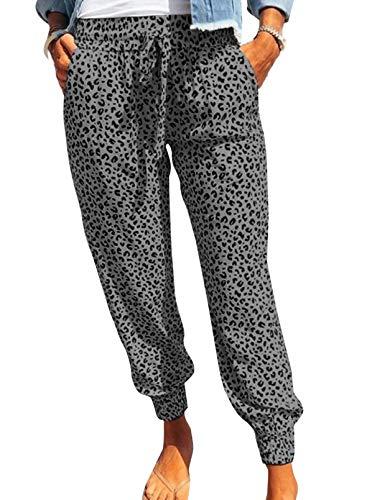GOSOPIN Dame Freizeithose lang Sporthose Yogahosen elastisch Zuhausehosen Schlafhose Jogginghose Hosen im Allgemeinen dick für kühles Wetter A Leopard Gray XL