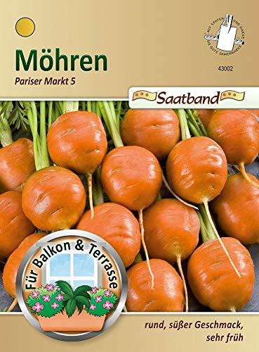 Möhren Pariser Markt 5 Saatband für Balkon & Terrasse rund süßer Geschmack sehr früh 43002 Möhre