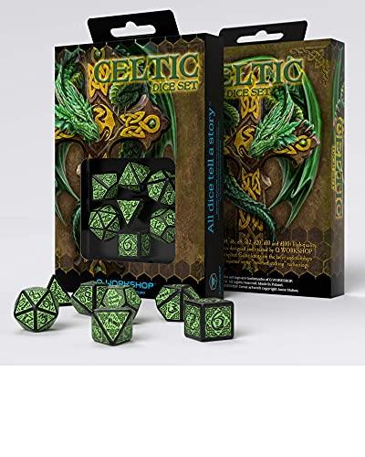 Conjunto com 7 dados para RPG Celta Preto e Verde - Celtic dice set- Q-Workshop