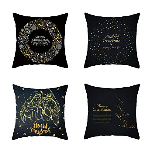 NLNL 4-Piece Set Christmas Pillowcase Black Gold Series Linen material Cushion Cover Office Sofa Cushion Pillowcase Car cushion-style:10