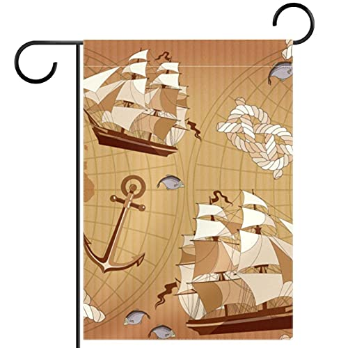 Bandera de jardín de doble cara /12x18in/ Banderas de la bandera de la casa de bienvenida de poliéster,Barcos y Anclas