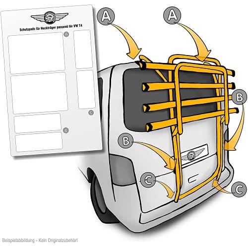 Lackschutzshop Auto Lackschutz-Folie für Fahrrad-Heckträger von VW T4 Baujahr 1990 bis 2003 - Selbstklebende, transparente Schutzfolie - Klebe-Folie