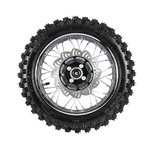 WPHMOTO 3.00-12   80/100-12 Rear Wheel Tire Rim With 12mm Bearing & Brake Disc Rotor and Sprocket For Dirt Pit Bike