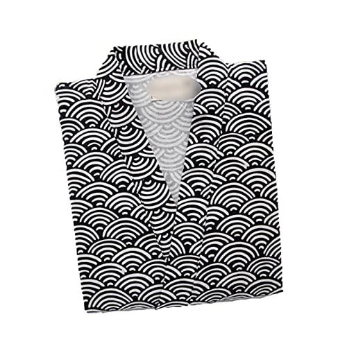 Bathrobe - Albornoz para mujer de algodón, camisas de noche tradicionales japonesas de Pajamas de algodón simple Kimono, Black Pattern, M