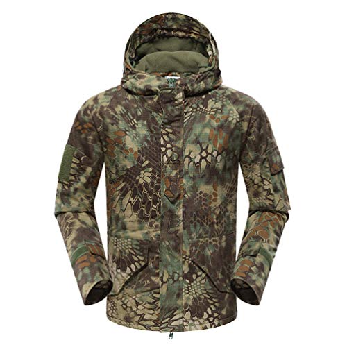 YuanDian Herren Taktisch Softshell Fleecejacke Militär Camouflage Hoodie Outdoor Camping Warm Winddicht Wasserdicht Mantel Jacke Grün Pythonmuster L