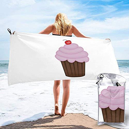 Cup Cake Cherry Toalla de baño, Toalla de Gimnasio, Toalla de Playa, Súper Absorbente, Microfibra Suave de Secado rápido, Ligero-Blanco-27.5 'x55