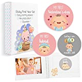 Baby Milestone Stickers Boy Girl - Premium Set of 30 Newborn Infant Monthly Growth Stickers - 1 Photo Album Memory Registry Cute Baby Shower Gift Birthday- Baby Memory Book with Keepsake Box for Mommy