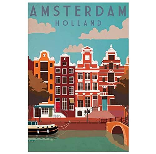 Jindongya Amsterdam Londra Città di Viaggio Paesaggio Pittura Poster Artistico Stampa su Tela Canvas Home Decor Picture Wall Print(60X90Cm) -24x36 Pollici Senza Cornice