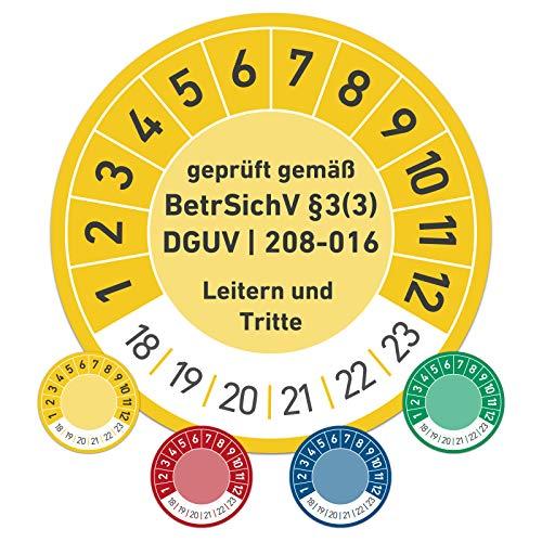 Leitern und Tritte Wartungsplakette Prüfplakette Wartung 20mm Ø gelb (100 Stück)