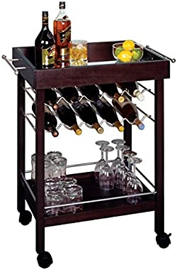 Kitchen Bar Serving Cart on 4 Caster Wheels & Lower Shelf Storage w/ Rack to Hold Alcohol up to 10 Bottles of Wine
