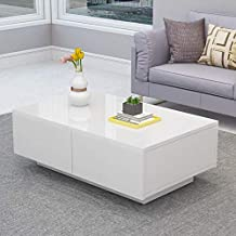 Cocoarm Modern Glossy White Coffee Table,Cocktail End Table with 4 Drawers Suit for Living Room,Easy Assembly