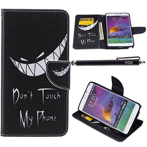 Note 4 Case, Galaxy Note 4 Case, iYCK Premium PU Leather Flip Folio Carrying Magnetic Closure Protective Shell Wallet Case Cover for Samsung Galaxy Note 4 with Kickstand Stand - Grim Smile