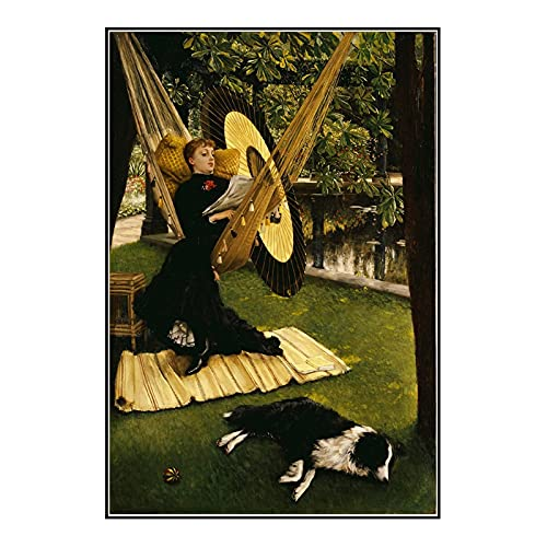 Ignite Wander Painting Print On Canvas James Tissot《The Hammock, 1879》Posters Prints Wall Art Pictures for Living Room Home Decor -50x75 cm No Frame