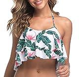 Tempt Me Halter Bikini Top for Women Ruffled Flounce Tankini Swimsuit Top Floral Printed Patterns L