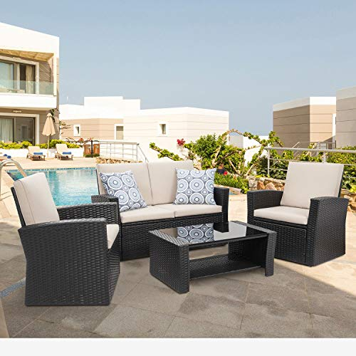Shintenchi 4-Piece Outdoor Patio Furniture Set, Wicker Rattan Sectional Sofa Couch with Glass Coffee Table | Black