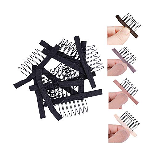 24 pcs/lot Wig Combs for Making Wig Caps 7-teeth Wig Clips Steel Teeth with Cloth Wig Combs for Hairpiece Caps Wig Accessories Tools Wig Clips for Wig (Black)