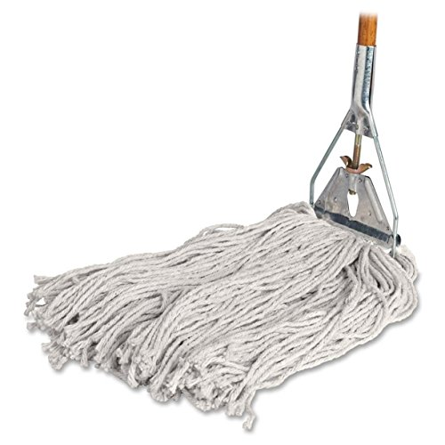 "Genuine Joe Cotton Wet Mop with Handle 60"" Width x 0.94"" Height; Cotton HeadWood Handle – Lightweight"