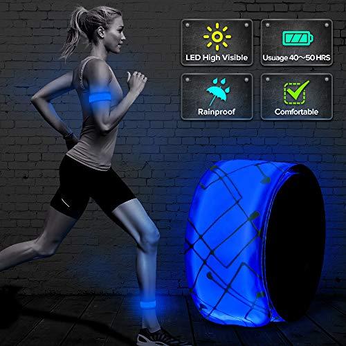 ELANOX LED Slap Band Armband Reflektorband Lichtband Joggen Radfahren Kinderwagen Mottorrad (blau)