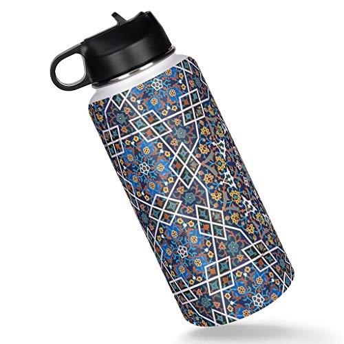 Generic Branded Irán pintura patrón acero inoxidable deportes botella de agua con tapa de paja aislada taza térmica regalos para amigos blanco 1000ml
