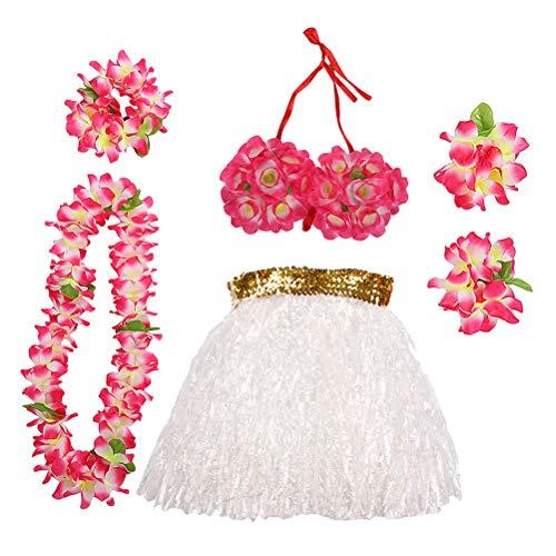 Amosfun Party Performance Kostüm Hawaii Tropical Hula Gras Tanzrock Blume Armbänder Kopf Schleife Hals Kranz Set Party Dress Up Kostüm Set