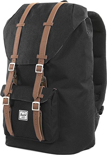 Herschel Black-Tan Synthetic Leather Little America - 25 Litre Backpack