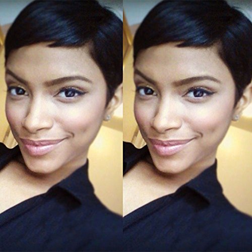 Short Human Hair Pixie Wig Brazilian Layered Hair Short Pixie Wigs for Black Women