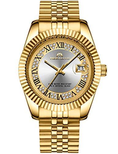 Herren Uhr Männer Gold Edelstahl Wasserdicht Designer Armbanduhren Mann Leuchtende Analog Datum Business Uhren