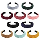10 Pcs Headbands for Women, Wide Headbands Knotted Headbands for Women, Headbands for Women Hair, Women Headbands Fashion Turban Headbands Hair Hoops Hair Accessories for Women and Girls