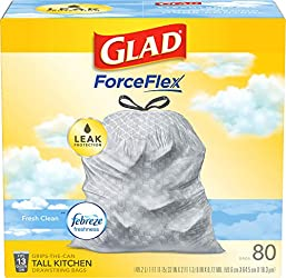 Glad ForceFlex Tall Kitchen Drawstring Trash Bags – 13 Gallon Trash Bag, Fresh Clean scent with Febr