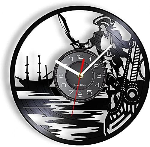 yltian Disco de Vinilo Reloj de Pared Barco Pirata capitán Reloj de Pared decoración náutica Reloj de Pared Vintage Sailor Vela Regalo niño habitación Reloj