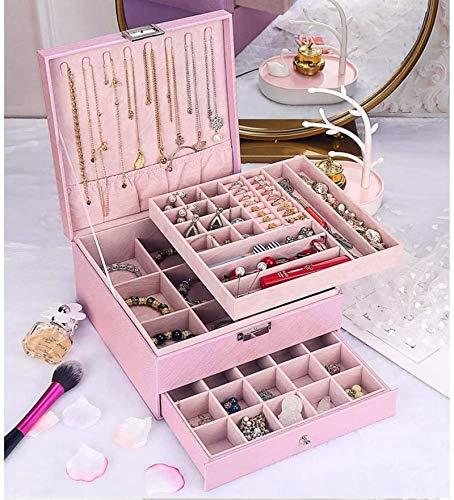 Caja de madera hecha a mano con llave oculta y extraíble Caja de almacenamiento de joyas, caja de joyería de múltiples capas Cofres de gran capacidad Accesorios de joyería Funda de regalo para pendien