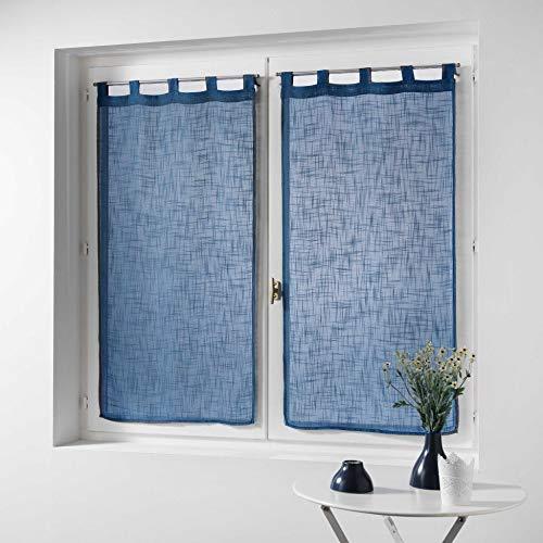 Douceur d' interno coppia destra passanti effetto lino Tisse haltona, Poliestere, blu, 160x 60cm