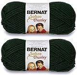 2-Pack - Bernat Softee Chunky Yarn, Dark Green, Single Ball